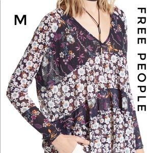 Free People Isabelle V Neck pullover floral tunic